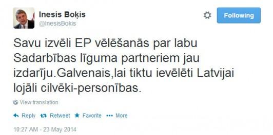 Twitter InesisBokis Savu izvēli EP vēlēšanās ... - Google Chrome 23.05.2014. 105921
